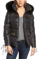 Kensie Women's Lace Sleeve Puffer Coat With Faux Fur Trim Hood