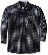Wrangler Men's Big and Tall George Strait One Pocket Long Sleeve Grey/Black Woven Shirt