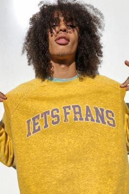 Urban Outfitters iets frans... Men's Varsity Crew Neck Sweatshirt - Yellow XS at