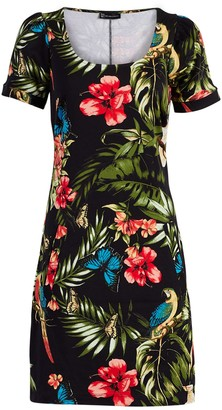 New York & Co. Tropical-Print Puff-Sleeve Cotton Shift Dress