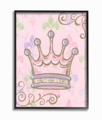 The Kids Room by Stupell Crown with Fleur de Lis on Pink Background Oversized Stretched Canvas Wall Art, 24 x 1.5 x 30