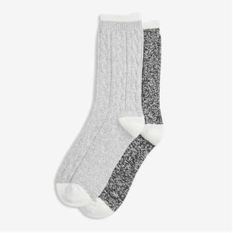 Joe Fresh Women's 2 Pack Soft Crew Socks, Grey (Size O/S)