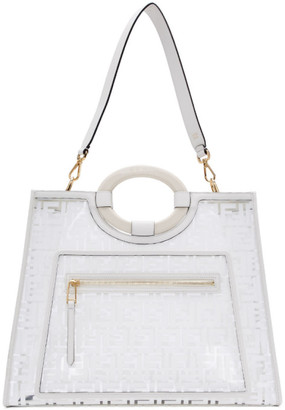 Fendi White Medium Forever Runaway Shopper Tote