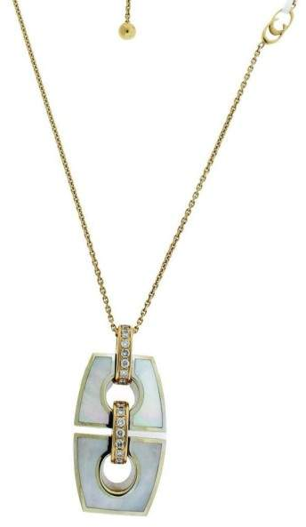 Chimento 18K Pink & White Gold Mother of Pearl & Diamond Link Noblesse Necklace