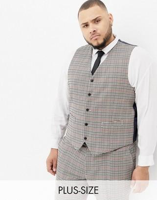 Gianni Feraud Plus slim fit heritage check wool blend suit vest-Brown