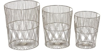 """Willow Row Round Silver Metal Woven Patterned Storage Baskets With Cut Out Handles - Set Of 3: 13"""" - 15"""" - 17"""""""