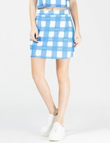 Lazy Oaf Blue Cat Gingham A-Line Skirt