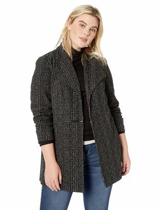 Kasper Women's Plus Size Wing Lapel Collar Jacquard Fly Away Jacket