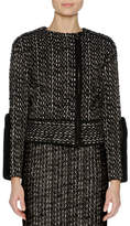 Agnona Tweed Biker Jacket w/Mink Fur Trim, Black