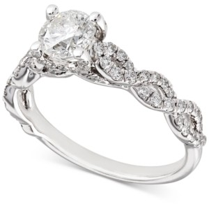 X3 Certified Diamond Woven Engagement Ring (1-1/6 ct. t.w.) in 18k White Gold, Created for Macy's