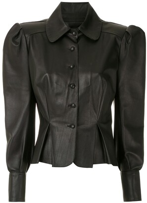 Andrea Bogosian Corset Leather Blouse