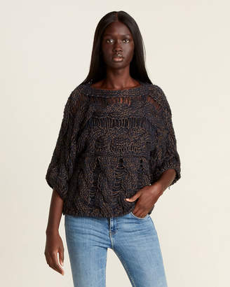 Gentry Portofino Blue & Brown Chunky Open Weave Sweater