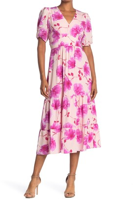 19 Cooper Floral Ruffled V-Neck Midi Dress
