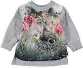 Molo Elvira Long-Sleeve Rabbit Jersey Tunic, Gray, Size 6-24 Months