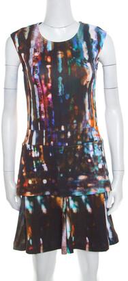 McQ Blurry Lights Printed Jersey Sleeveless Peplum Dress S
