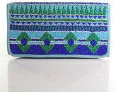 Roberta Freymann Blue Green Magnet Closure Beaded Detail Clutch Size Medium