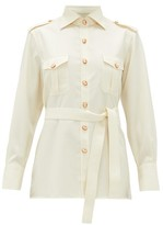 Giuliva Heritage Collection The Aurora Cameo-button Wool-twill Blouse - Womens - Ivory