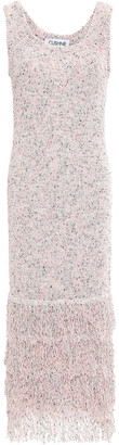 Cushnie Fringed Boucle-knit Cotton-blend Dress