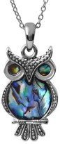 "Journee Collection Women's Shell Owl Pendant Necklace in Sterling Silver - Multicolor (18"")"