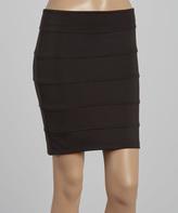Black Ribbed Pencil Skirt