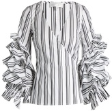 Caroline Constas Athena striped ruffled-sleeve blouse