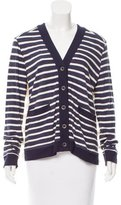 Sea Fringe-Accent Striped Cardigan w/ Tags