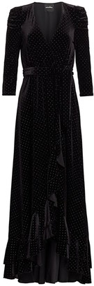 retrofete Flora Velvet High-Low Wrap Dress