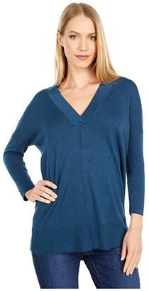 Lilla P 3/4 Sleeve Tunic Sweater in Cotton Modal (Fir) Women's Clothing