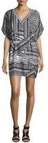 Townsen Hoffman Tribal-Print Chiffon Dress, Black/White