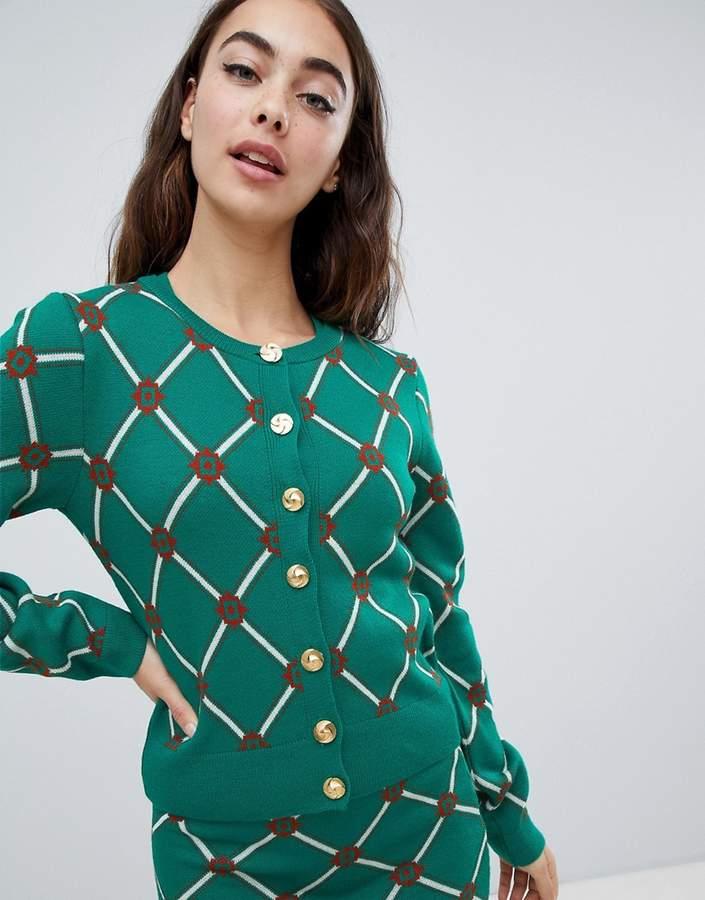 Asos (エイソス) - ASOS DESIGN two-piece cardigan in argyle pattern