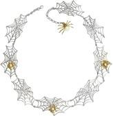 Bernard Delettrez Bronze Spiders on Silver Web Necklace