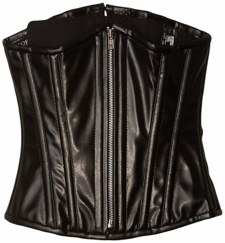 DaisyCorsets Women's Top Drawer Black Faux Leather Steel Boned Underbust Corset Small
