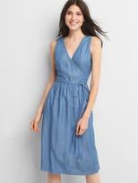 Gap Denim sleeveless wrap dress
