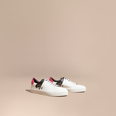 Burberry Splash Motif Leather Trainers , Size: 42, White
