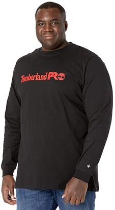 Timberland Base Plate Long Sleeve Graphic T-Shirt - Tall (Black/Red) Men's Clothing