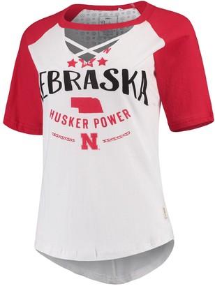 Women's Pressbox White/Scarlet Nebraska Cornhuskers Abbie Criss-Cross Raglan Choker T-Shirt