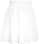 John Lewis Girls' Broderie Skirt, White