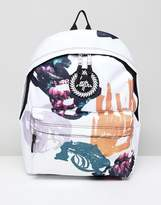 Hype Abstraction Print Backpack In White