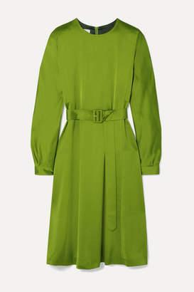 Dries Van Noten Dicina Belted Satin Midi Dress - Lime green