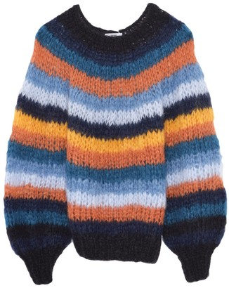 Maiami Striped Sweater with Blousy Sleeves in Retro Stripe