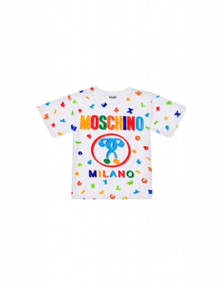 Moschino Magnets Maxi T-shirt Unisex White Size 6a It - (6y Us)