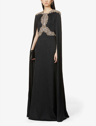 Alexander McQueen Gemstone-embellished cape-panel silk-satin gown