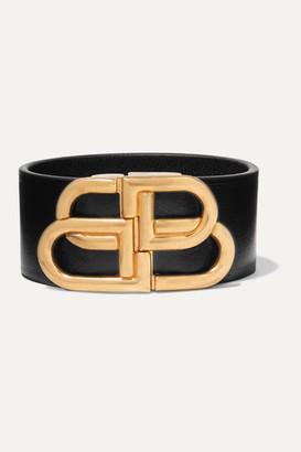 Balenciaga Leather And Gold-tone Bracelet - Black