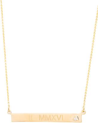 STONE AND STRAND Medium Horizontal Bold Bar Necklace with Teeny Diamond