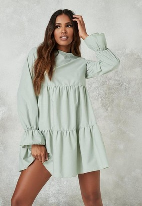 Missguided Frill Cuff Tiered Smock Dress