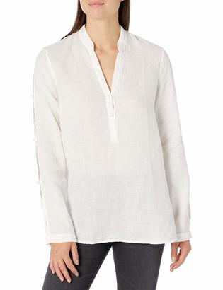 Three Dots Women's WL2824 Linen L/S Shirt W/TIE Detail Sleeve