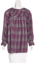 Thomas Wylde Abstract Print Silk Blouse