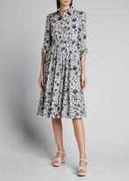 Prada Cotton Poplin 3/4-Sleeve Shirtdress