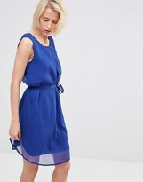 Lavand Waist Tie Dress In Bright Blue