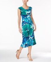 Connected Petite Floral-Print Cowl-Neck Dress